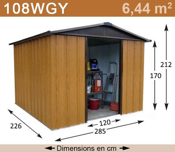 Abri de jardin en métal, imitation bois, trouvé sur www.triganostore.com