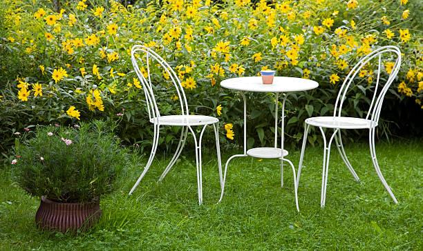 Table et chaises de jardin entourées de fleurs jaunes